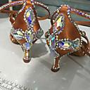 cheap Latin Dancewear-Women's Latin Shoes Satin Heel Pearl / Sparkling Glitter / Buckle Flared Heel Customizable Dance Shoes Black / Brown