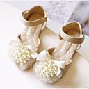 זול נעלי ילדות-בנות נעליים PU אביב קיץ נעליים לילדת הפרחים שטוחות פפיון / פנינים ל ילדים בז' / ורוד