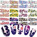 billige 3D Sticker-48 pcs Vandoverførings klistermærke Blomst / Botanisk Negle kunst Manicure Pedicure Multifunktionel / Bedste kvalitet Sød / Mode Daglig
