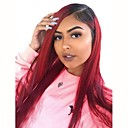 cheap Synthetic Lace Wigs-Synthetic Wig / Synthetic Lace Front Wig Straight / Silky Straight Style Middle Part Lace Front Wig Red Black / Burgundy Synthetic Hair 26 inch Women's with Baby Hair / Soft / Heat Resistant Red Wig