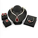 povoljno Komplet nakita-Žene Crvena Kubični Zirconia Svadbeni nakit Setovi Klasičan Kruška dame Moda Pozlaćeni Naušnice Jewelry Crvena Za Vjenčanje Party 1set