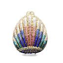 halpa Clutch- ja iltalaukut-Naisten Kristallikoristelu / Reikäkuvio Metalliseos Iltalaukku Rhinestone Crystal iltapusseja Yhtenäinen väri Kulta / Sateenkaari / Syystalvi