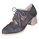 halpa Naisten oxford-kengät-Naisten PU Talvi Englantilainen Oxford-kengät Paksu korko Pyöreä kärkinen Musta / Harmaa / Ruskea