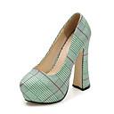 hesapli Kadın Topukluları-Kadın's Ayakkabı Kanvas İlkbahar & Kış Günlük Topuklular Kalın Topuk Yuvarlak Uçlu Günlük için Gümüş / Kırmzı / Yeşil