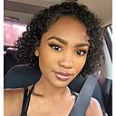 preiswerte Echthaar Perücken mit Spitze-Cabello Natural Remy Vollspitze Spitzenfront Perücke Asymmetrischer Haarschnitt Rihanna Stil Brasilianisches Haar Locken Afro Kinky Schwarz Perücke 130% 150% 180% Haardichte Weich Klassisch Damen