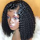 Χαμηλού Κόστους Περούκες από Ανθρώπινη Τρίχα-Φυσικά μαλλιά Δαντέλα Μπροστά Περούκα Κούρεμα καρέ Σύντομο βαρίδι Rihanna στυλ Βραζιλιάνικη Σγουρά Μαύρο Περούκα 130% Πυκνότητα μαλλιών / Φυσική γραμμή των μαλλιών / 100% δεμένη στο χέρι