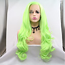 cheap Synthetic Lace Wigs-Synthetic Lace Front Wig Women's Body Wave Green Layered Haircut 130% Density Synthetic Hair 24 inch Women Green Wig Long Lace Front Green Sylvia