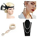 cheap Historical & Vintage Costumes-The Great Gatsby 1920s The Great Gatsby Costume Women's Flapper Headband Head Jewelry Pearl Necklace Red / black / Green and Black / Golden+Black Vintage Cosplay Mini