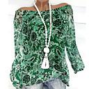 abordables Camisas y Camisetas para Mujer-Mujer Básico Tallas Grandes Volante / Estilo Floral / Estampado Blusa, Hombros Caídos Floral / Moda Naranja XXXL