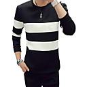 abordables Sudaderas de Hombre-Hombre Básico Pantalones - A Rayas Blanco y Negro Blanco / Escote Redondo / Manga Larga / Otoño