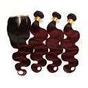 levne Prameny přírodních vlasů-3 balíčky s uzavřením Brazilské vlasy Vlnité Remy vlasy Příčesky z pravých vlasů Vlasy Útek se zapínáním 10-24 inch Lidské vlasy Vazby Měkký povrch Nejlepší kvalita Nový přírůstek Rozšíření lidsk