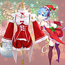 cheap Anime Costumes-Inspired by Re:Zero Starting Life in Another World Santa Suit / Rem Anime Cosplay Costumes Cosplay Suits Christmas Collar / Sleeves / Costume For Women's