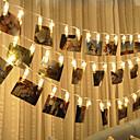 ieftine Fâșie Becuri LED-brelong 1 set 3m 20 leds clip foto lumina șir lumina cald alb lumina de vacanță / partid / celebrative / decorative lumina aa baterii powered