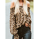 cheap Human Hair Capless Wigs-Women's Street chic T-shirt - Leopard Ruffle / Print Off Shoulder / Spring / Summer / Fall / Winter