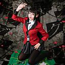 abordables Disfraces de Anime-Inspirado por Kakegurui Yumeko Jabami Animé Disfraces de cosplay Trajes Cosplay Houndstooth Manga Larga Pañuelo / Faldas / Chaqueta Para Mujer