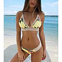 cheap Bikinis-Women's Strap Yellow Cheeky Bikini Swimwear - Floral Hollow Out S M L Yellow / Super Sexy