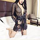 hesapli Sabahlıklar-Kadın's Etekler - Solid / Dikey şeritler Dantel / Şeffaf Beyaz Siyah Bej Tek Boyut / Derin V / Süper Seksi