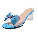 hesapli Kadın Sandaletleri-Kadın's Sandaletler Kalın Topuk Açık Uçlu Fiyonk PU Tatlı / Lucite Topuk İlkbahar yaz Açık Mavi / Beyaz / Sarı
