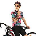 billige Cykeltrøjer-FirtySnow Herre Kortærmet Cykeltrøje - Lys pink Blomster / botanik Cykel Trøje Åndbart Hurtigtørrende Sport Polyester Bjerg Cykling Vej Cykling Tøj / Elastisk / SBS Lynlåse