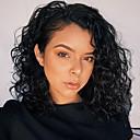 Χαμηλού Κόστους Περούκες από Ανθρώπινη Τρίχα-Φυσικά μαλλιά Δαντέλα Μπροστά Περούκα Κούρεμα καρέ Σύντομο βαρίδι στυλ Βραζιλιάνικη Σγουρά Κυματιστό Μαύρο Περούκα 130% Πυκνότητα μαλλιών / Φυσική γραμμή των μαλλιών / 100% δεμένη στο χέρι