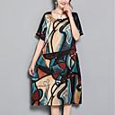 cheap Men's Necklaces-Women's Plus Size Daily Street chic Loose Shift Dress - Geometric Print Summer Red Navy Blue XXL XXXL XXXXL