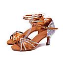 hesapli iPhone Kablo ve Şarj Aletleri-Kadın's Latin Dans Ayakkabıları Saten Topuklular İnci / Işıltılı Pullar / Toka Kıvrımlı Topuk Kişiselleştirilmiş Dans Ayakkabıları Kahverengi