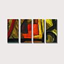povoljno Apstraktno slikarstvo-Hang oslikana uljanim bojama Ručno oslikana - Sažetak Comtemporary Moderna Uključi Unutarnji okvir / Četiri plohe / Prošireni platno