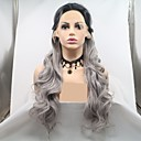 cheap Human Hair Capless Wigs-Synthetic Lace Front Wig Plaited / Loose Curl Dark Gray Layered Haircut Grey 130% Density Synthetic Hair 24 inch Women's Women Dark Gray / Black Wig Long Lace Front Sylvia