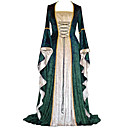cheap Party Headpieces-Retro / Vintage Medieval Costume Women's Dress Red / Green / Blue Vintage Cosplay Party Prom Long Sleeve Flare Sleeve Floor Length Long Length