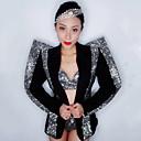 cheap Dance Costumes-Dance Costumes Exotic Dancewear / Rhinestone Bodysuit Women's Performance Spandex Split Joint / Crystals / Rhinestones Long Sleeve Dropped Coat / Bra / Shorts
