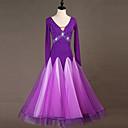 baratos Roupas de Dança de Salão-Dança de Salão Vestidos Mulheres Espetáculo Elastano Combinação / Cristal / Strass Manga Longa Vestido