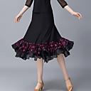 abordables Ropa para Baile de Salón-Baile de Salón Pantalones y Faldas Mujer Entrenamiento / Rendimiento Poliéster Apliques / Fruncido Cintura Alta Faldas
