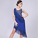 저렴한 라틴 댄스 웨어-라틴 댄스 드레스 여성용 성능 우유 섬유 태슬 / 장식용 금속조각 민소매 드레스