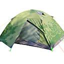 رخيصةأون مفارش و خيم و كانوبي-Sheng yuan 2 الأشخاص خيمة الكاميرا في الهواء الطلق ضد الهواء التنفس إمكانية طبقات مزدوجة خيمة التخييم 2000-3000 mm إلى شاطئ Camping / Hiking / Caving تنزه قماش اكسفورد 70+210+50*150*110 cm