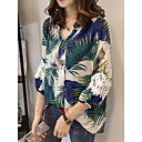 cheap Earrings-2019 New Arrival Shirts Women's Work Business / Street chic Plus Size Loose Shirt Camisas Mujer Chemise Femme - Geometric Blue & White, Patchwork / Print V Neck Blue XXL / Fall