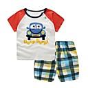 billige Sett med Gutter babyklær-Baby Gutt Grunnleggende Daglig Trykt mønster Kortermet Normal Normal Bomull Tøysett Rød