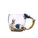 お買い得  カップ、マグカップ-ブルーローズエナメルクリスタルカップフラワーティーガラスガラス水マグとハンドグリップギフト恋人の結婚式
