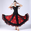 cheap Petticoats-Ballroom Dance Outfits Women's Training / Performance Polyester / Spandex Appliques / Tiered Short Sleeve Natural Skirts / Top