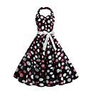 povoljno Vintage kraljica-Žene Ulični šik Uske Swing kroj Haljina - Print, Na točkice Na vezanje oko vrata Iznad koljena / Sexy