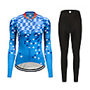 cheap Cycling Jersey & Shorts / Pants Sets-FirtySnow Women's Long Sleeve Cycling Jersey with Tights Blue Plaid / Checkered Bike Clothing Suit Breathable Moisture Wicking Quick Dry Sports Polyester Plaid / Checkered Mountain Bike MTB Road Bike