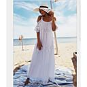 رخيصةأون ملصقات الحائط-أبيض حجم واحد لون سادة, ملابس السباحة تغطية الجسم عالي الخصر أبيض دون الكتف نسائي