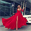 رخيصةأون الأزياء التنكرية التاريخية والقديمة-فستان نسائي متموج مثيرة طويل للأرض لون سادة منخفضة V رقبة مناسب للحفلات