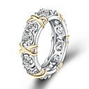 povoljno Modno prstenje-Žene Band Ring Zaručnički prsten Prsten obećanja Kubični Zirconia 1pc Zlato Kamen Titanium Steel Krug Romantični slatko Moda Vjenčanje Angažman Jewelry crossover Slovo krafne Sretan Slatko Lijep