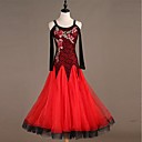 preiswerte Tanzkleidung für Balltänze-Für den Ballsaal Kleider Damen Training Nylon / Gitter / Organza Kristalle / Strass Langarm Hoch Kleid