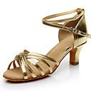 abordables Zapatos de Baile Latino-Mujer Satén Zapatos de Baile Latino Tacones Alto Tacón Cubano Personalizables Marrón / Leopardo / Caqui / Rendimiento / Cuero