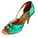 povoljno Cipele za latino plesove-Žene Plesne cipele Sintetika Cipele za latino plesove Kristalni detalji Štikle Tanka visoka peta Moguće personalizirati Zelen