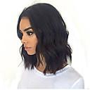 halpa Aitohiusperuukit verkolla-Aidot hiukset Lace Front Peruukki Bob-leikkaus Lyhyt Bob tyyli Brasilialainen Laineita Musta Peruukki 130% Hiusten tiheys ja vauvan hiukset Luonnollinen hiusviiva Tummille naisille 100% Neitsyt 100