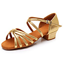 hesapli Dans kostümleri-Kadın's Dans Ayakkabıları Saten Latin Dans Ayakkabıları Topuklular Kalın Topuk Kişiselleştirilmiş Gümüş / Leopar / Çıplak / Performans / Deri