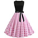 preiswerte Retro-Königin-Damen A-Linie Kleid Einfarbig Übers Knie