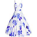 ieftine Regina Vintage-Pentru femei Mărime Plus Size Ieșire 1950 Linie A Rochie - Imprimeu, Floral Cu Bretele Lungime Genunchi